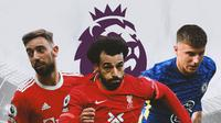 Premier League - Bruno Fernandes, Mohamed Salah, Mason Mount (Bola.com/Adreanus Titus)
