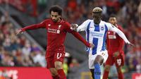 Mohamed Salah mencetak gol tunggal yang memberikan kemenangan untuk Liverpool atas Brighton & Hove Albion di Stadion Anfield, Minggu (26/8/2018) dini hari WIB. (Martin Rickett/PA via AP)