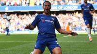 Eden Hazard mengukir hattrick saat Chelsea menang 4-1 atas Cardiff City pada laga pekan ke-5 Premier League di Stamford Bridge, Sabtu (15/9/2019) malam WIB. (AFP/Glyn Kirk)