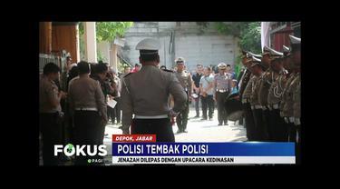 Jenazah polisi yang ditembak sesama polisi, Bripka Rahmat, dilepas dengan upacara kedinasan oleh Polda Metro Jaya.