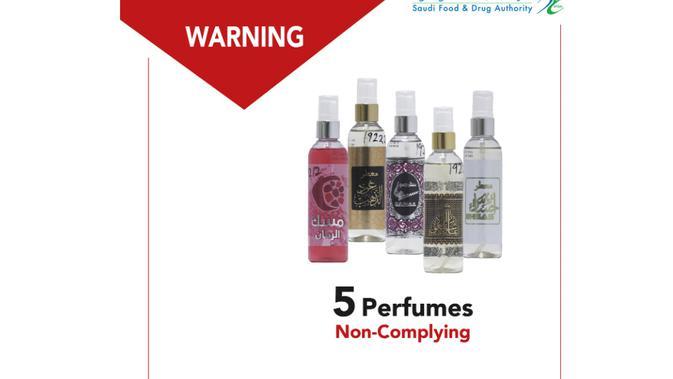 Ilustrasi: Foto-foto parfum yang dinyatakan ilegal oleh BPOM Arab Saudi (SFDA) pada Oktober 2020. Dok: Situs resmi SFDA