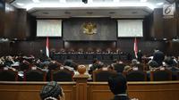 Suasana sidang Judicial Review atas Perppu Ormas di Gedung Mahkamah Konstitusi, Jakarta, Rabu (30/8). Sidang mendengarkan keterangan dari pemerintah dan pihak terkait. (Liputan6.com/Helmi Fithriansyah)