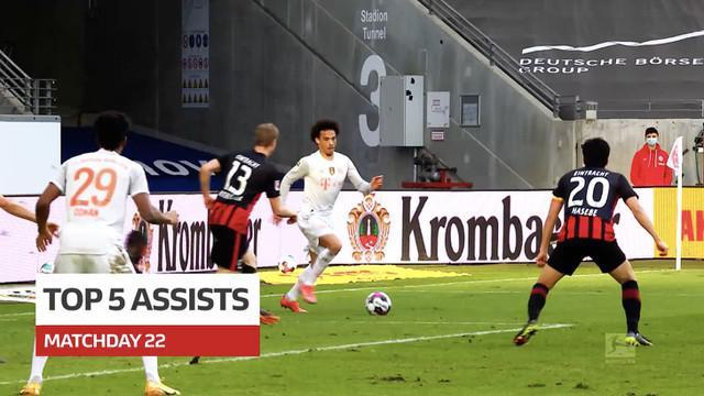 Berita video 5 assist terbaik yang terjadi pada pekan ke-22 Bundesliga 2020/2021, salah satunya yang dilakukan bintang Bayern Munchen, Leroy Sane.