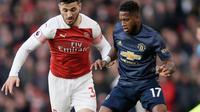 Bek Arsenal, Kolasinac berusaha merebut bola yang dibawa gelandang Manchester United, Fred selama pertandingan lanjutan Liga Inggris di Stadion Emirates di London (10/3). Arsenal menang 2-0 atas MU. (AP Photo/Tim Irlandia)
