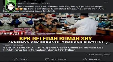 Gambar Tangkapan Layar Kabar Hoaks KPK Menggeledah Rumah SBY (sumber: Facebook).