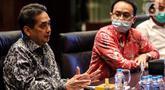 Menteri Perdagangan Agus Suparmanto menyambangi PT Elang Mahkota Teknologi Tbk (Emtek) dan Indosiar Grup di SCTV Tower Jakarta, Rabu (12/8/2020). Dalam pertemuan Kemendag berharap peran media dan grup besar menyampaikan berita positif kepada publik selama pandemi Covid-19. (Liputan6.com/Johan Tallo)