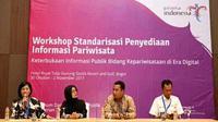 Workshop Standardisasi Penyediaan Informasi Pariwisata di Hotel Royal Tulip, Bogor, dibuka dengan gaya yang paten.