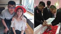 Seorang pria memenuhi janjinya untuk mengadakan pesta pertunangan meski kekasihnya telah meninggal