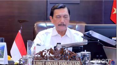 Menko Kemaritiman dan Investasi Luhut Binsar Pandjaitan melakukan Konferensi Pers Perkembangan PPKM pada Senin (20/9/2021).