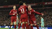 2. Liverpool - Kegemilangan Liverpool semakin terasa usai tak pernah menyicipi kekelahan hingga pekan ke-17 Liga Inggris. Kegembiraan tersana nyata usai Manchester City terpeleset di dua pertandingan terakhir. (AFP/Paul Ellis)