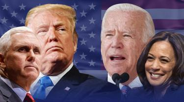 Ilustrasi Pilpres AS 2020, Donald Trump-Mike Pence dan Joe Biden-Kamala Harris