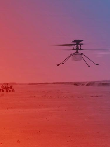 Helikopter Ingenuity terbang di atas permukaan Mars (NASA/JPL-Caltech
