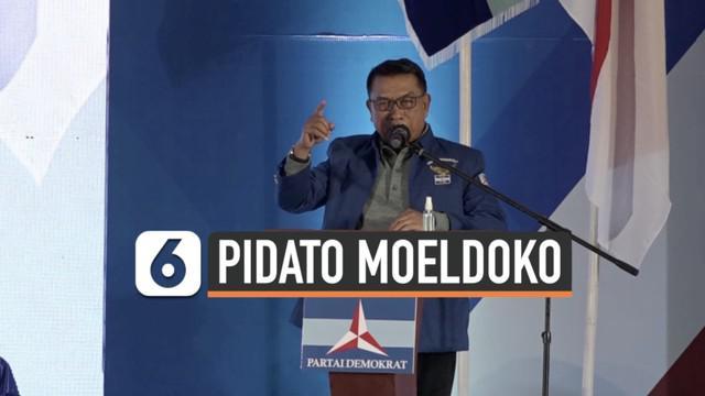 Moeldoko menghadiri Kongres Luar Biasa Partai Demokrat di Deli Serdang Sumatera Utara Jumat (5/3) malam. Ia pun sampaikan pidato pertama di depan para pendukungnya.