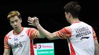 Ganda putra Indonesia, Kevin Sanjaya Sukamuljo/Marcus Fernaldoi Gideon, mengalahkan pasangan Jepang, Takeshi Kamura/Keigo Sonoda, pada semifinal Piala Sudirman 2019, di Nanning, China, Sabtu (25/5/2019). (PBSI)