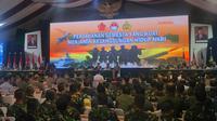 Presiden Jokowi memberi sambutan dalam Rapim Kementerian Pertahanan, Kamis (23/1/2020). (Merdeka.com/ Titin Supriatin)
