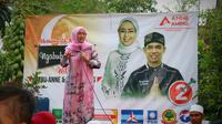 Istri Dedi MUlyadi, Anne Ratna Mustika, unggul di Pilkada Purwakarta. (Liputan6.com/Abramena)