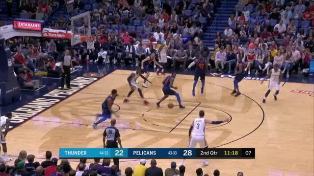 Berita video game recap NBA 2017-2018 antara Oklahoma City Thunder melawan New Orleans Pelicans dengan skor 109-104.