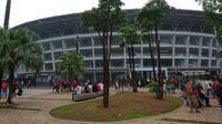 Stadion Utama Gelora Bung Karno jelang laga Timnas Indonesia vs Filipina di penyisihan Grup B Piala AFF 2018, Minggu (26/11/2018). (Bola.com/Muhammad Ivan Rida)