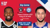 Live streaming big game NBA, Nets vs Sixers pada Jumat (8/1/2020) pukul 07.30 WIB dapat disaksikan melalui platform Vidio. (Dok. Vidio)