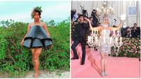 Busana Met Gala Versi Low Budget Ala Mimi Peri (sumber: Instagram/mimi.peri dan metmuseum)