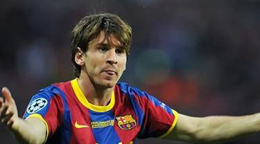 Reaksi penyerang Barcelona Lionel Messi usai mencetak gol ke gawang Manchester United dalam final Liga Champions di Wembley Stadium, 28 Mei 2011. AFP PHOTO/LLUIS GENE