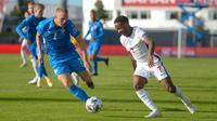 Bekuk Islandia dengan skor tipis 1-0, Raheem Sterling jadi pahlawan Inggris pada ajang UEFA Nations League 2020, Minggu (6/9/2020) dini hari WIB. (Haraldur Gudjonsson / AFP)