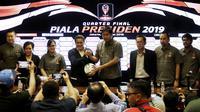Suasana saat drawing delapan besar Piala Presiden 2019 di ruang media SUGBK, Jakarta, Selasa (19/3). Pertandingan akan berlangsung pada 29-31 Maret mendatang. (Bola.com/Yoppy Renato)