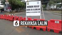 Kepolisian melakukan rekayasa lalu lintas di sekitar gedung DPR/MPR, Senayan, Jakarta. Rekayasa dilakukan jelang pelantikan Joko Widodo dan Ma'ruf Amin pada 20 Oktober 2019.