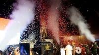 Memperingati Hari Pahlawan 10 November 2019 Menhan Prabowo Subianto dan Mantan Ketua BIN Hendropriyono meresmikan patung Panglima Besar Jenderal Sudirman di Turusan, Banyuraden, Gamping, Sleman, DIY Minggu (10/11/2019). (Foto: Liputan6.com/Yanuar H)