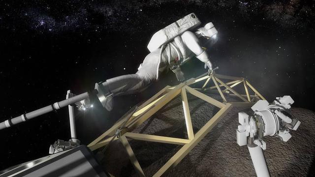 Ilustrasi astronot mendarat dan bersiap menambang asteroid