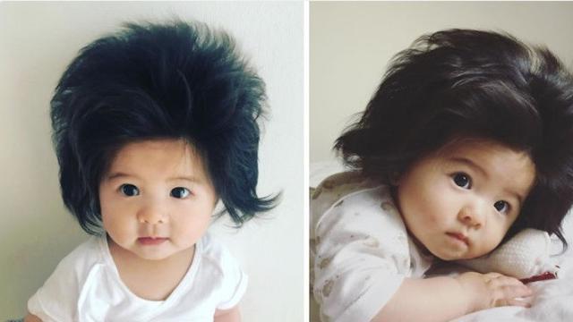 Bayi berambut super tebal jadi viral (instagram @babychanco)