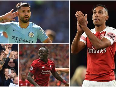 Striker Arsenal, Pierre-Emerick Aubameyang bersama penyerang Chelesea, Eden Hazard, memimpin top scorer sementara dengan torehan 7 gol. Berikut daftar pencetak gol terbanyak sementara Premier League pekan ke-10. (Foto-foto Kolase AP dan AFP)