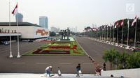 Suasana gedung Parlemen saat dilakukan pembersihan gedung, Senayan, Jakarta, Senin (31/7). Bersih - bersih ini dilakukan tiga bulan sekali untuk perawatan Gedung MPR/DPR/DPD. (Liputan6.com/Johan Tallo)