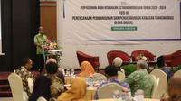 Sekretaris Jenderal Kementerian Desa, PDT, dan Transmigrasi memberikan sambutan dalam acara Perumusan Arah Kebijakan Ketransmigrasian Tahun 2020-2024 dan Perencanaan Pembangunan dan Pengembangan Kawasan Transmigrasi Di Era Digital di Kampus UGM, Yogyakarta, Selasa (9/7/2019).