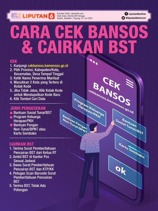 Infografis Cara Cek Bansos & Cairkan BST (Liputan6.com/Abdillah)