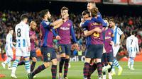 Barcelona meraih kemenangan 2-1 atas Real Sociedad dalam laga pekan ke-33 La Liga Spanyol, di Camp Nou, Sabtu (20/4/2019) malam waktu setempat. (AFP/Pau Barrena)