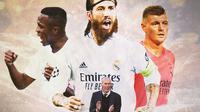 Real Madrid - Zinedine Zidane, Vinicius Jr, Sergio Ramos, Toni Kroos (Bola.com/Adreanus Titus)