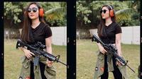 Gaya Febby Rastanty saat Latihan Menembak. (Sumber: Instagram.com/febbyrastanty)