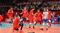 Rusia (ROC) berhasil menang di pertandingan voli semifinal Olimpiade Tokyo atas Brasil, Kamis (05/08/2021).