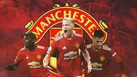 Manchester United - Paul Pogba, Donny van de Beek, Diogo Dalot (Bola.com/Adreanus Titus)