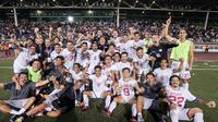 Timnas Filipina merayakan kepastian tampil di Piala Asia 2019 setelah mengalahkan Tajikistan di Manila, Selasa (27/3/2018). (Bola.com/Dok. AFC)