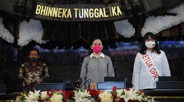 Ketua DPR RI Puan Maharani saat mengikuti glaid kotor sidang tahunan MPR di Kompleks DPR/MPR Senayan. Jakarta. (Istimewa)
