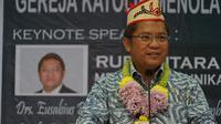 Menteri Komunikasi dan Informatika Republik Indonesia Rudiantara di Palangka Raya, Sabtu (12/5). (Liputan6.com/Loop/Kevin S Putera)