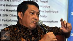 Dewan Pakar MES dan Anggota KEIN, Aries Mufti saat menjadi pembicara dalam sebuah diskusi di Jakarta, Sabtu, (2/4). Diskusi membahas industri nasional agar  kuat bersaing dengan industri global. (Liputan6.com/JohanTallo)