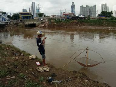 Warga mencari ikan dengan menggunakan jala di Banjir Kanal Barat, Tanah abang, Jakarta, Sabtu (4/1/2020). Debit air yang mulai surut di aliran tersebut dimanfaatkan warga untuk mencari ikan. (Liputan6.com/Angga Yuniar)
