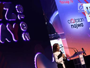 Presenter Najwa Shihab saat menjadi pembicara di XYZ DAY 2018 di The Hall Senayan City, Jakarta, Rabu (25/4). Wanita yang akrab disapa Nana ini berbicara seputar network dan netizen. (Liputan6.com/Herman Zakharia)