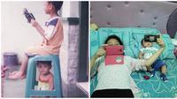 Kelakuan Kocak Saat Kakak Jagain Adik Ini Bikin Kangen Masa Kecil (sumber:Twitter/Kaisar_Dusun)