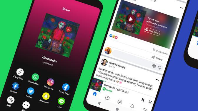 Kehadiran fitur miniplayer Spotify yang kini bisa diakses langsung dari aplikasi Facebook. (Foto: Spotify)