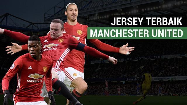 Berita video motion grafis tentang 7 jersey terbaik Manchester United di era Premier League.