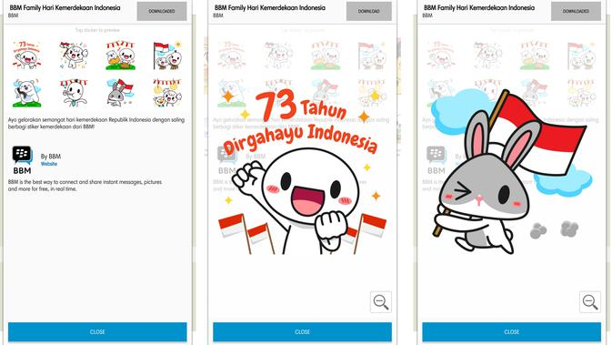 Stiker BBM bertema Hari Kemerdekaan RI ke-73 (Liputan6.com/ Agustin Setyo W)
